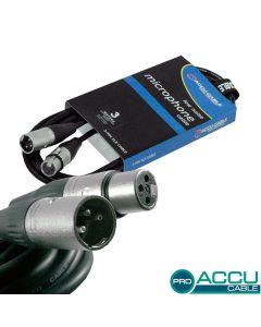 ACCU-CABLE Mikrofonikaapeli 3m XLR-uros - XLR-naaras