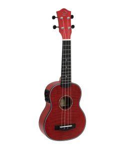 DIMAVERY UK-100 Ukulele sopraano mikillä, väri punainen