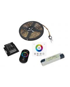 EUROLITE LED Strip RGB 5m IP44 - Kaukosäädin - Seinäpaneeli langaton - Virtalähde 24V - All In One Led nauha setti