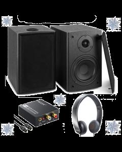 TV äänentoisto paketti - Kaiuttimet, DAC konvertteri ja Shure kuulokkeet!