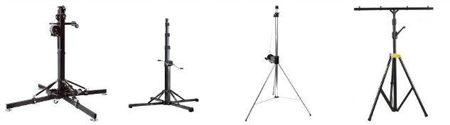 Wind-up lighting stands