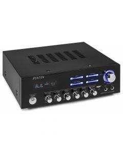 AV-120BT Mini Vahvistin USB 2 x 60W Soittimella ja bluetoothilla .Stereo Karaoke Monipuolinen 2x 60W stereovahvistin! Tämä on todellinen yleiskone, voidaan kytkeä DVD, CD tai muita audio laitteita 2kpl mikrofoneja, eli soveltuu karaokeen sekä USB