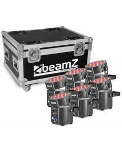 BEAMZ BBP60 9x 12W 6-1 RGBWA-UV LED kuuden tilavalon setti kuljetuslaatikolla