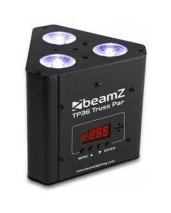TP36 3x4W RGB-UV trussivalaisin.  DMX-ohjaus ja IR-kaukosäädin. Ääniaktivoitu säädettävällä herkkyydellä. Mitat 122 x 108 x 117mm, paino 0.7kg
