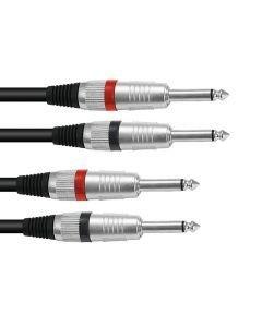 OMNITRONIC Plugi-kaapeli 1,5m, 2x Jack Plug 6,3mm