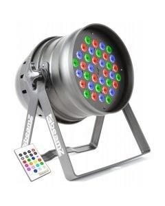 BEAMZ DMX LED PAR 64 Spotti 36x 3W Alu RGBW IR DMX