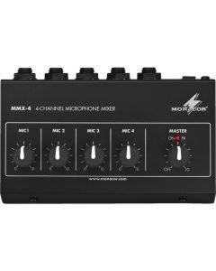 MONACOR MMX-4 mirofonimikseri toimii paristolla tai 9V