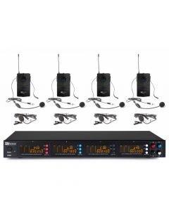 POWER DYNAMICS PD504B UHF 4x 50-kanavainen langaton mikrofonijärjestelmä neljällä pääpantamikrofonilla ja solmiomikrofonilla