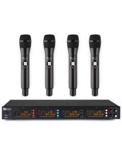 POWER DYNAMICS PD504H UHF 4x 50-kanavainen langaton mikrofonijärjestelmä neljällä mikrofonilla ja yhdellä vastaaottimella