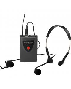 TXA-100HSE taskulähetin setti pääpantamikrofonilla ja solmiomikrofonilla