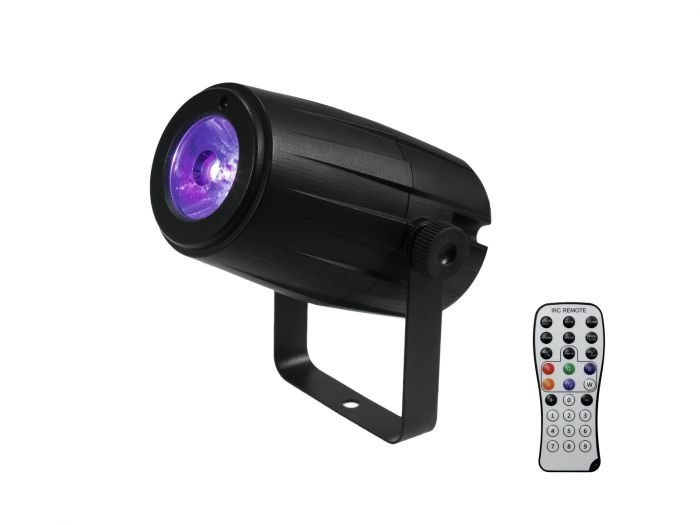 VUOKRAUS - EUROLITE LED PST-5 QCL PinSpot 5W 4in1 LED RGBW 5° asteen tiukka säde esim peilipalloille - kaukosäädin