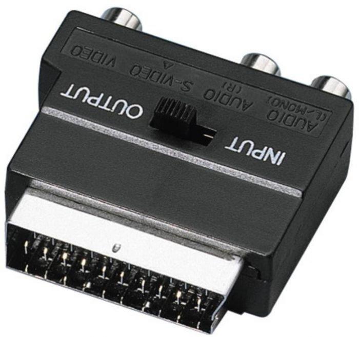 MONACOR VAU-4, SCART-adapteri, IN-OUT-kytkimellä