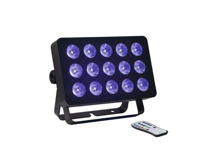 EUROLITE LED FLD-1508 UV Panel - Tehokas 15x8W LED UV-valo kaukosäätimellä - DMX - QuickDMX