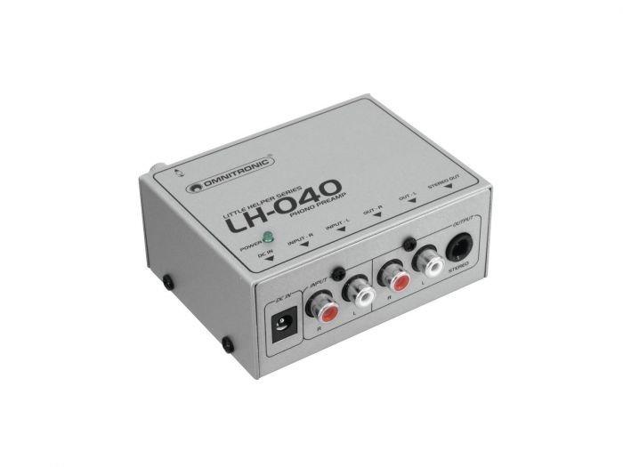 OMNITRONIC LH-040 Levysoittimen 1-kanavainen stereoesivahvistin, joka täyttää RIAA-standardin