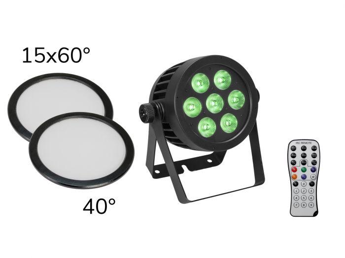 tuotepaketti-eurolite-led-ip-par-7x8w-qcl-spot-2x-diffuser-cover-linsseja-15x60-ja-40