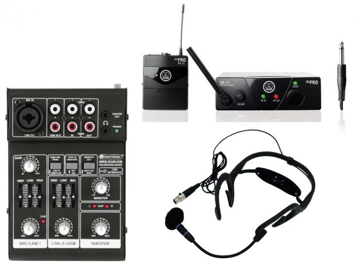 AKG WMS40 SPORT Mini Headset OMNITRONIC HS-1000 langaton mikrofoni setti ja USB mikseri striimaukseen