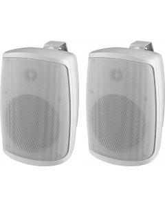 Monacor WALL-06/WS kaiutinpari valkoinen. Taajuusvaste 70-20000Hz, 8 ohmia, IP65 tiiveusluokitus.