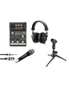 OMNITRONIC Set Podcast 1 - Mikrofoni pöytätelineellä sekä USB mikseri ja kuulokkeet - Live Stream podcast paketti!