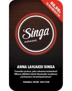 SINGA Karaoke-lahjakortilla 12 kuukautta käyttöaikaa Singa-nettikaraokepalveluun